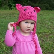 Halloween Pig Hat Crocheted