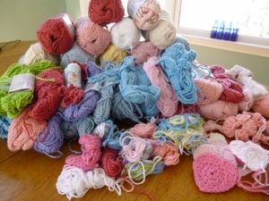 6 pounds of Bernat CottonTots.  2013 Challenge, crochet into hats for Halos of Hope.