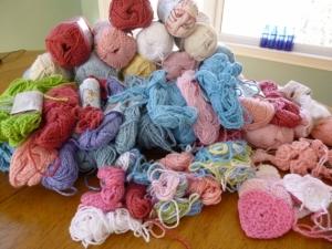 6 pounds of Bernat CottonTots.  2013 Challenge, crochet into hats for Halos of Hope.