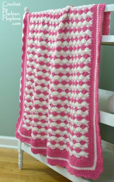 Adorable crocheted baby blanket. Crochet pattern Shells of Love by Darleen Hopkins #CbyDH