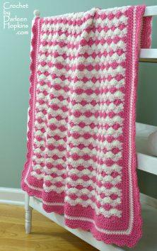 Adorable crocheted baby blanket. Crochet pattern Shells of Love by Darleen Hopkins #CbyDH