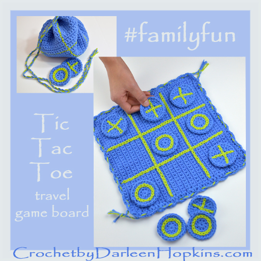 #familyfun crochet pattern for tic-tac-toe travel game
