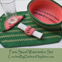 Farm Stand Watermelon Kitchen Set crochet pattern by Darleen Hopkins