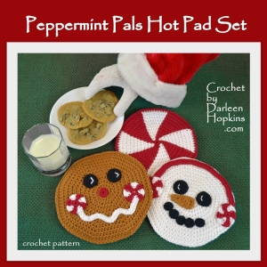 Hot pad crochet pattern. Christmas candy, gingerbread man and snowman