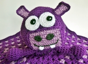 Hippo Blanket Buddy Crochet Pattern by Darleen Hopkins