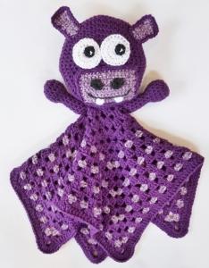 Blanket Buddy Purple Hippo Crochet Pattern by Darleen Hopkins