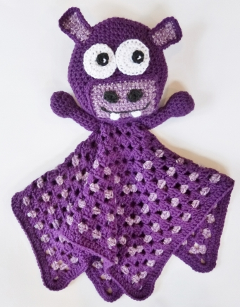 Blanket Buddy Purple Hippo Crochet Pattern by Darleen Hopkins