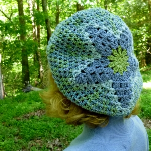Beret or Slouchy Hat, Stars and Flowers crochet pattern by Darleen Hopkins