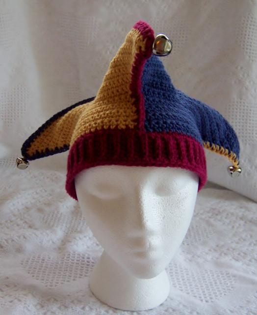 Free Crochet Joker Hat Pattern : Hat-Court Jester, Joker, Elf Crochet By Darleen Hopkins