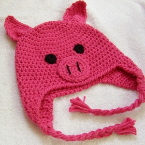 Crocheted Pig Hat pattern Oink! by Darleen Hopkins