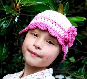 Flapper Style Hat with Rose Crochet Pattern by Darleen Hopkins