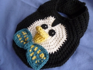 Preppy Penguin Drool Bib crochet pattern by Darleen Hopkins