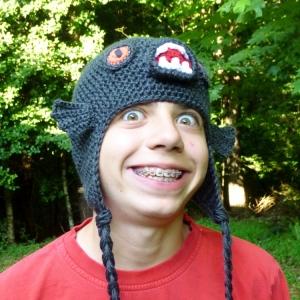 https://crochetbydarleenhopkins.com/patterns/hat-piranha-monster-fish/ Black Piranha Hat crochet pattern by Darleen Hopkins
