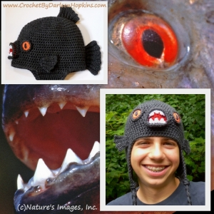 https://crochetbydarleenhopkins.com/patterns/hat-piranha-monster-fish/ Black Piranha Hat crochet pattern by Darleen Hopkins