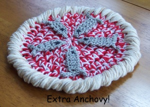 extra anchovy pizza crochet pattern by Darleen Hopkins