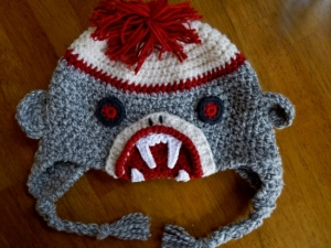 Zombie Sock Monkey crochet hat pattern by Darleen Hopkins