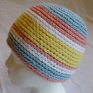 Striped hat for Halos of Hope by Darleen Hopkins