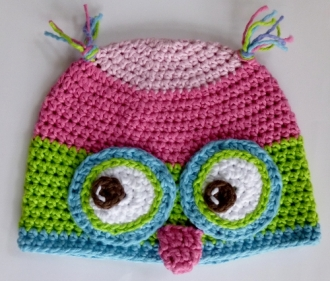 Owl Hat from two patterns Crochet by Darleen Hopkins