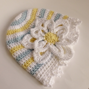 Daisy Hat for Halos of Hope based on pattern by Akua Lezli Hope