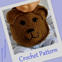 Brown Baby Bear Drool Bib Crochet Pattern by Darleen Hopkins