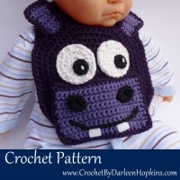 Hippo bib crochet pattern by Darleen Hopkins