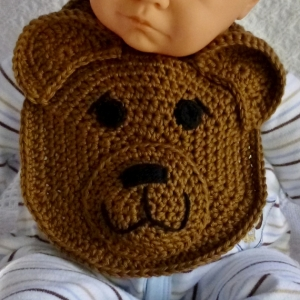 Sweet Baby Bear Drool Bib crochet pattern by Darleen Hopkins