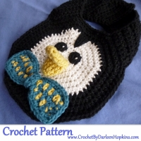 Penguin Drool Bib Crochet Pattern by Darleen Hopkins