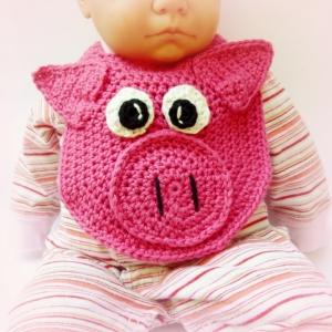Pig Drool Baby Bib, http://www.ravelry.com/patterns/library/lil-oinker-drool-bib-spit-burp-pig-or-piglet-crochet