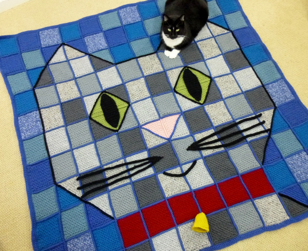 Blanket / Throw-Baby Kitty, Patchwork | Crochet By Darleen Hopkins