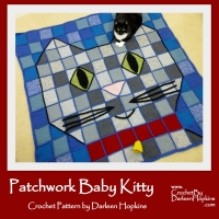 PatchworkKitty Throw Blanket by Darleen Hopkins https://crochetbydarleenhopkins.com/patterns/blanket-throw-baby-kitty-patchwork/