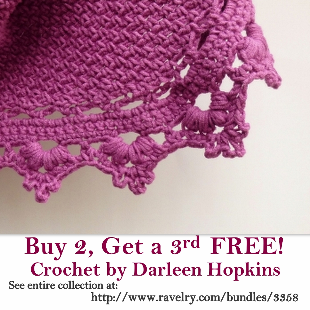 Buy 2 Crochet by Darleen Hopkins Patterns, Get a 3rd for FREE!