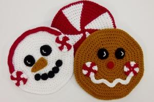 Peppermint Pals Hot Pad Set, crochet pattern