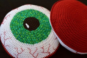 Bloody Eyeball Pillow Crochet Pattern by Darleen Hopkins