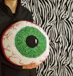 Creepy Eyeball Pillow, crochet pattern by Darleen Hopkins