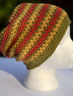 Cubed Hat, Relaxed Beanie crochet pattern by Darleen Hopkins with adjusted striping