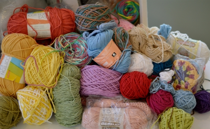 cotton and cotton blend yarn stash for charity crochet