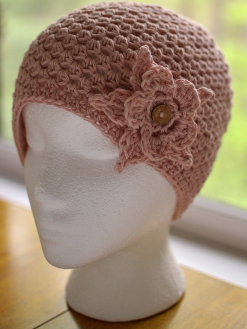 Halos of Hope chemo hat for donation, crochet