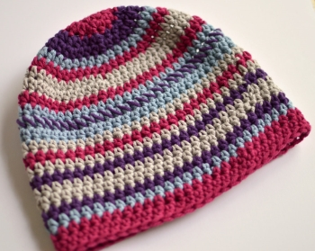 Beanie crocheted by Darleen Hopkins for Halos of Hope donation, chemo hat