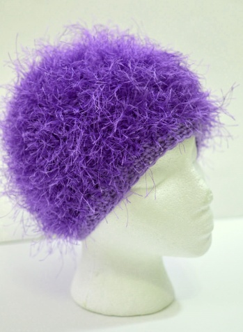 Purple Fuzz chemo hat for donation, Halos of Hope