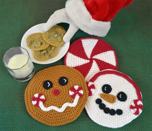 Christmas Crochet Hot Pad Set, pattern for gingerbread man, snowman and peppermint.  Peppermint Pals by Darleen Hopkins