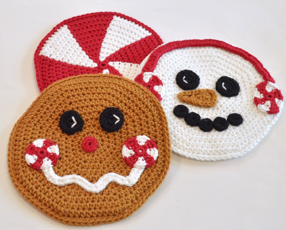 Hot Pads Peppermint Pals Snowman And Gingerbread Man Crochet By