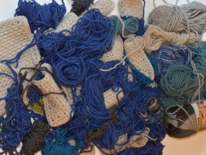 Yarn scraps for magic ball
