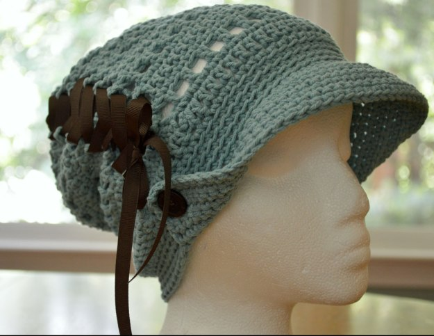 Countryside Slouchy crocheted for Halos of Hope, chemo donation