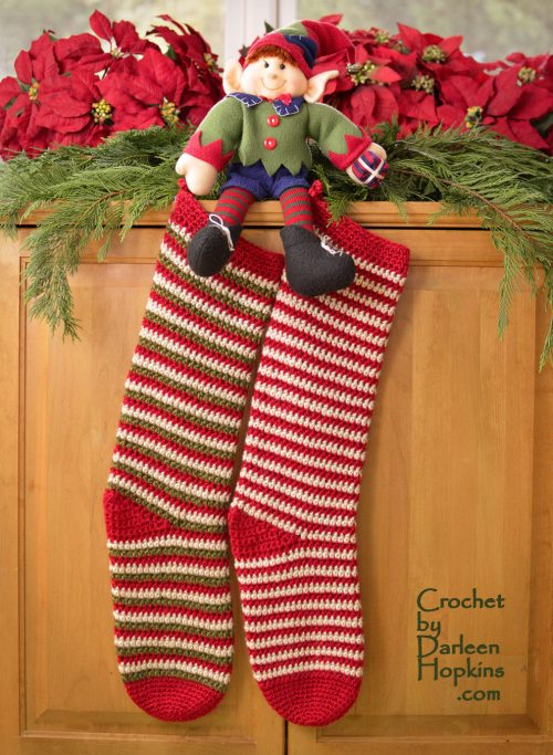 Christmas Stocking Elf Socks Crochet By Darleen Hopkins