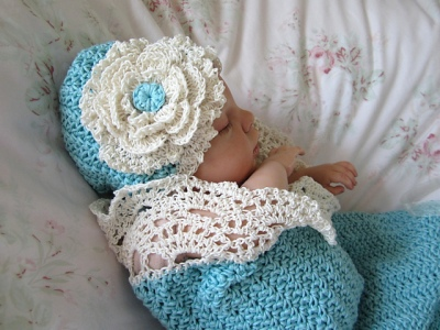 Seaside Cottage Cocoon/Snuggle Sack and Hat by Betty Fay Wallace