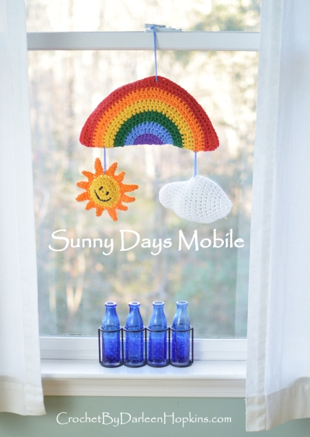 Sunny Days Mobile, crochet pattern for baby, tweens, teens or anytime you want a little sunshine! #CbyDH
