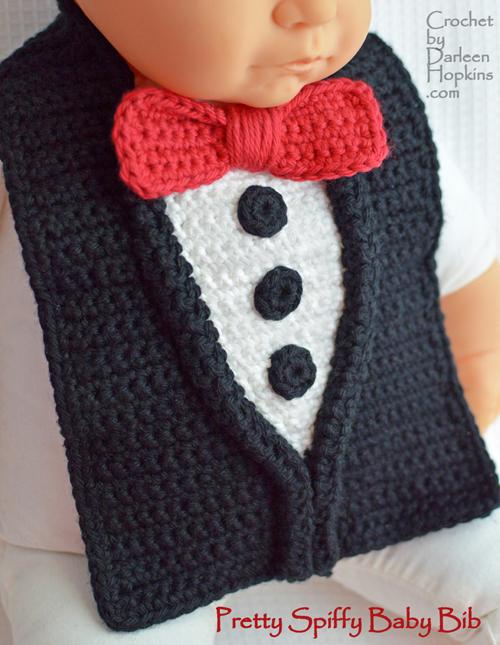 crochet baby bib pattern, tuxedo, by Darleen Hopkins #CbyDH