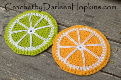 Crochet pattern by Darleen Hopkins.  Lemon and Lime slice coasters.