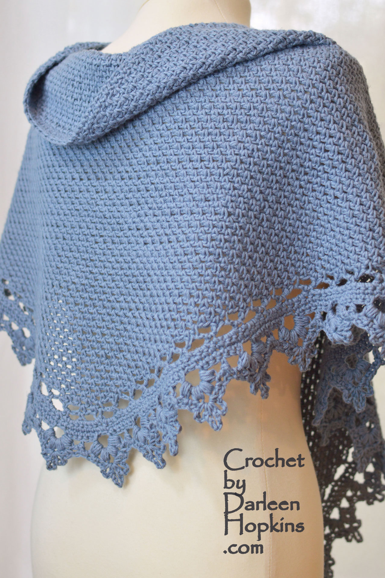 Cotlin Black Raspberry Shawl Crochet Pattern Side Back View Weblogo