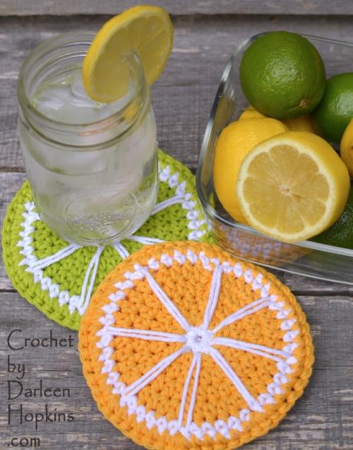 Lemon slice and Lime slice crochet pattern for coasters. Lime and Lemonade Coasters crochet pattern by Darleen Hopkins